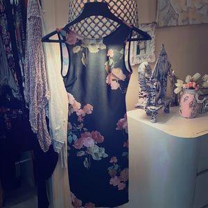Black flowered low back midi dress
